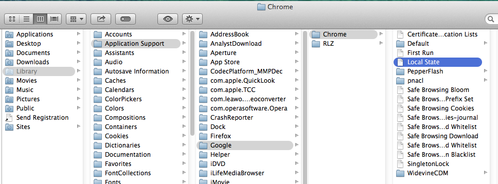 Screencap showing the string of folders