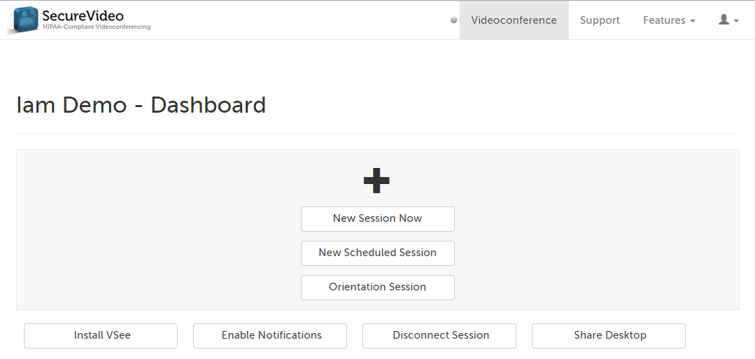 SecureVideo Dashboard (no sessions)