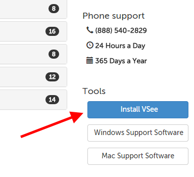 Install VSee button on the support page