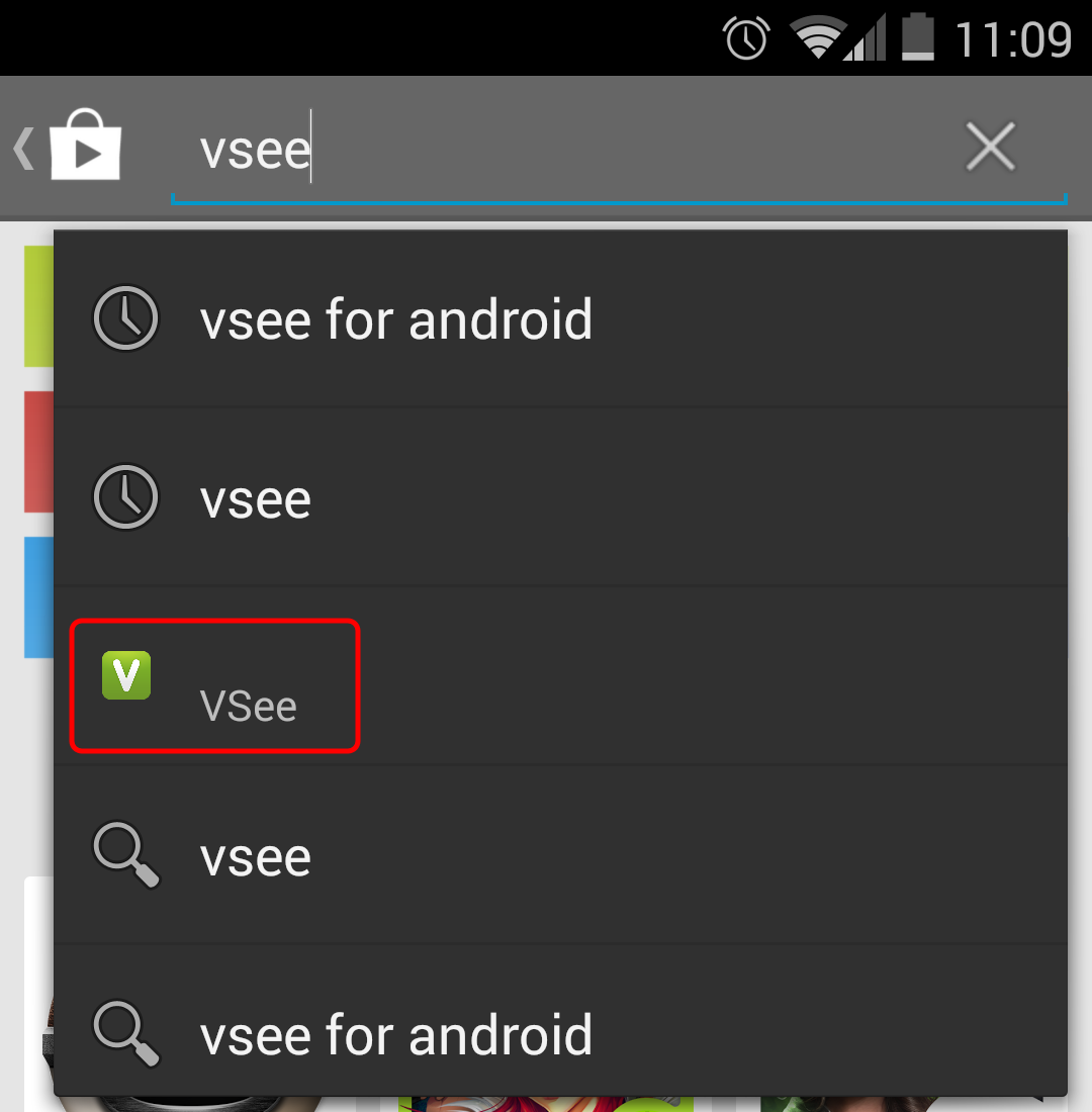 Screencap showing how to search for VSee