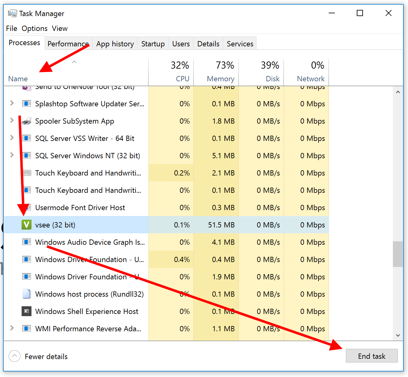 Screencap showing Task Manager