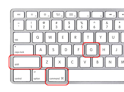 Screencap showing where to find the Shift, Command, and G keys on a Mac keyboard