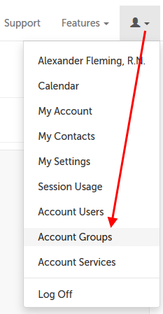 Account Groups option from menu
