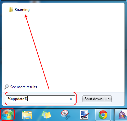 Screencap showing the search field and resulting folder