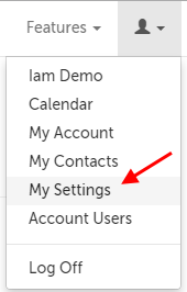 "Profile menu; ""My Settings"" is the 5th option"