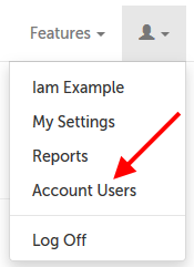 Account Users in the drop down menu