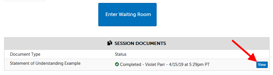 "Example of ""Session Documents"" section, where instead of a ""Submit"" button, there is a ""View"" button, to view a document submitted by another participant"