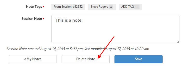 Delete Note button
