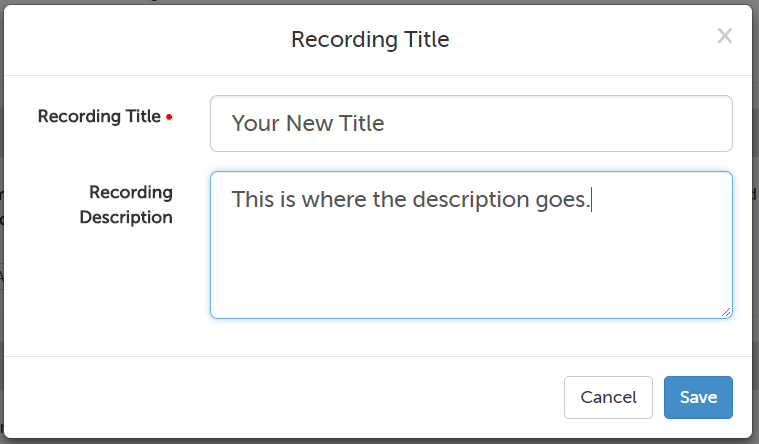 Change recording title