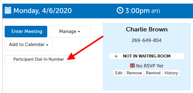 Button on Host dashboard: Participant Dial In Number