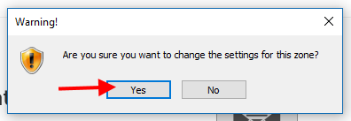 "Warning! Are you sure you want to change the settings for this zone? Click ""Yes""."