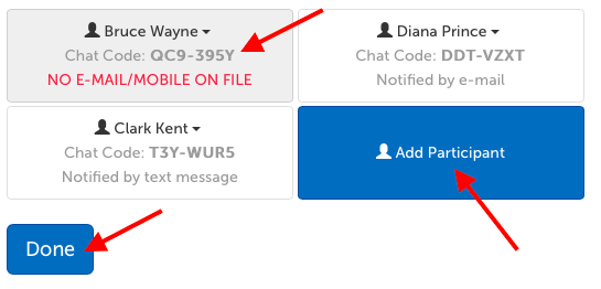 "Chat participant names, chat codes, and notification methods. ""Add Participant"" button to add additional participants. ""Done"" button to save changes."