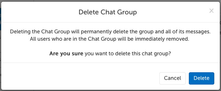 Delete Chat Group confirmation message