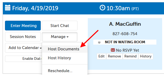 "Arrow pointing at ""Host Documents"" in the drop-down menu"