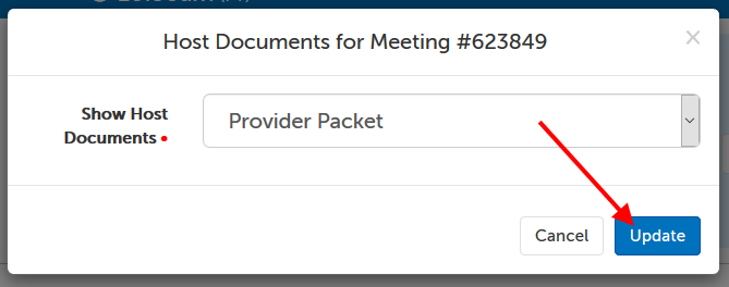 """Show Host Documents"" set to ""Provider Packet"". Arrow pointing at ""Update"" button."