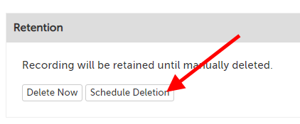 "Retention section; message: ""Recording will be retained until manually deleted."", with two buttons: ""Delete Now"" and ""Schedule Deletion"""
