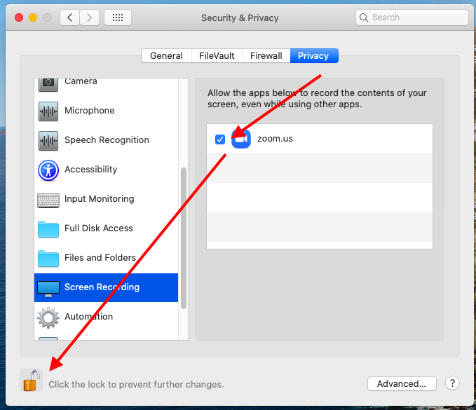 Arrow pointing to checkbox for zoom.us (leave checked) and then another arrow pointing to the lock symbol to save changes.