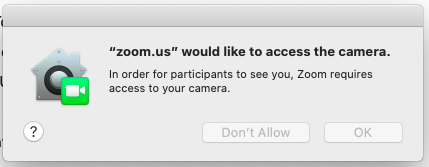 """zoom.us"" would like to access the camera"""